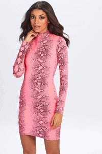U.MAY2019 Jordyn Snake Skin Mini Dress Pink