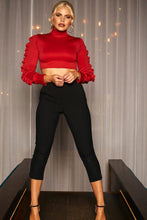 Load image into Gallery viewer, U.MAY2019 Kendall Frill Crop Top Red