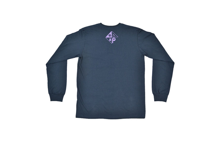 Back view of blue/purple diamond logo long sleeve t