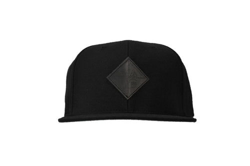 Front view of black pome diamond logo patch snapback