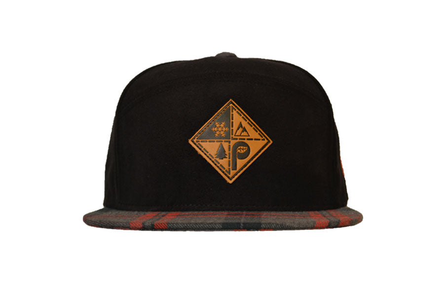Front view of black suede pome diamond logo patch snapback