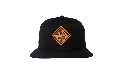 front view of black snapback patch hat