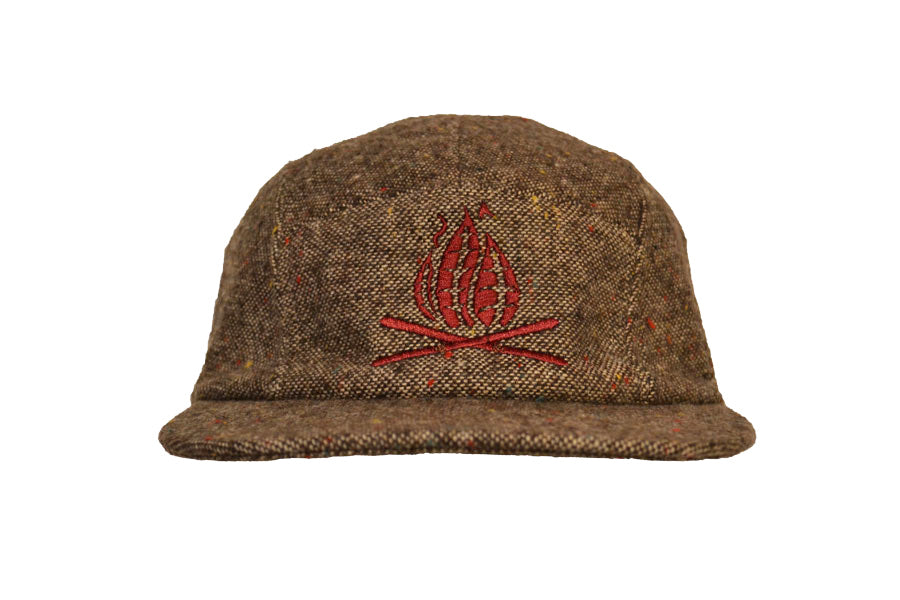 Front view of tweed sustainable eco wool five panel camper hat
