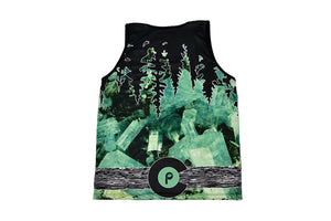 Back view of Colorado stone aquamarine tank top with inverted tree line