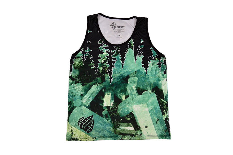 Front view of Colorado stone aquamarine tank top with inverted tree line