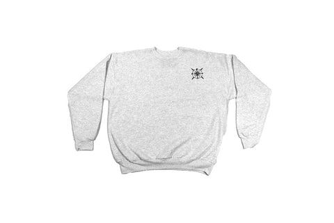 Front view of grey crew neck sweatshirt with pome compass logo