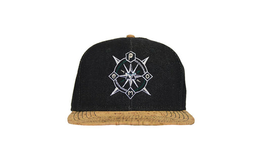 From view of black denim/cork pome compass logo snapback