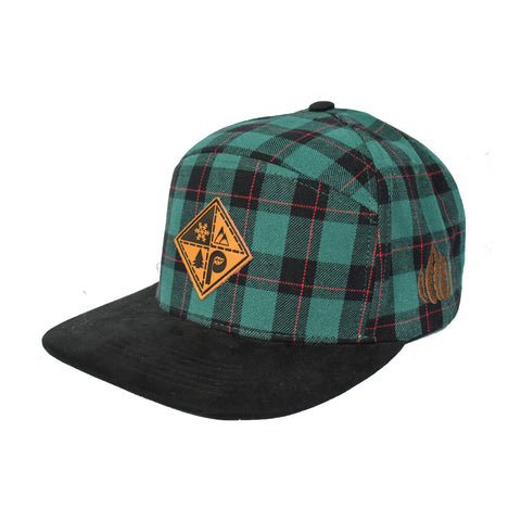 Green Plaid/Suede Patch Snapback Hat
