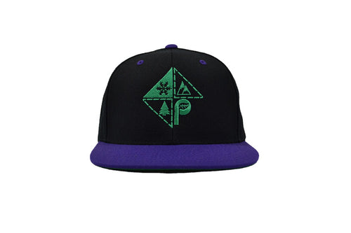 Front view of black/purple snapback with green pome diamond logo embroidery