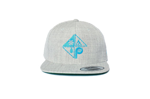 Front view of grey with blue pome diamond logo embroidery snapback