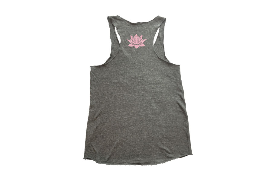 pome sustainable eco womens yoga tank top grey back