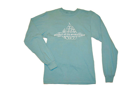 Front view of blue organic cotton long sleeve trileaf t