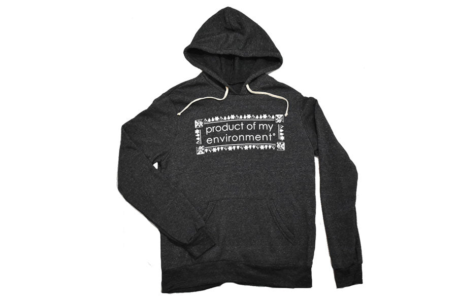 Front view of grey Product Of My Environment rectangle design hoodie