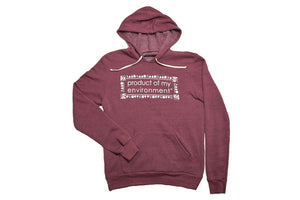Front view of red Product Of My Environment rectangle design hoodie