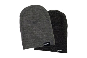 Front view of grey and charcoal eco slouch pome beanies