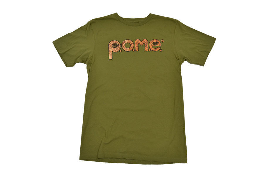 front view of green woodgrain pome logo t shirt