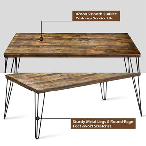 Accent your room with this modern, industrial style solid wood coffee table! This table is both stylish and functional. With sturdy metal legs it offers plenty of space to show off personal photos and decor or even hold your office essentials!