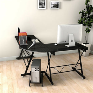 This large L-shaped desk is stylish and functional. It offers plenty of room to spread out papers or other office essentials!