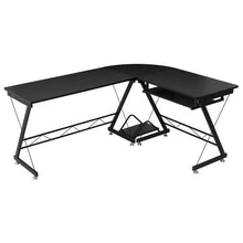 Load image into Gallery viewer, This large L-shaped desk is stylish and functional. It offers plenty of room to spread out papers or other office essentials!
