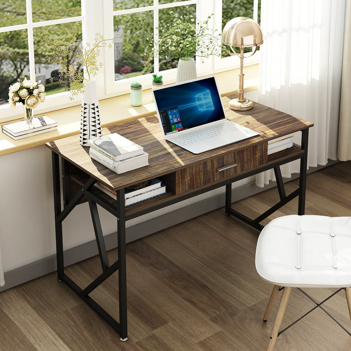 This computer desk is modern and classy. It instantly brings a new feel to an outdated room. Small but still offers a large work space with additional storage space, including a sizable drawer.