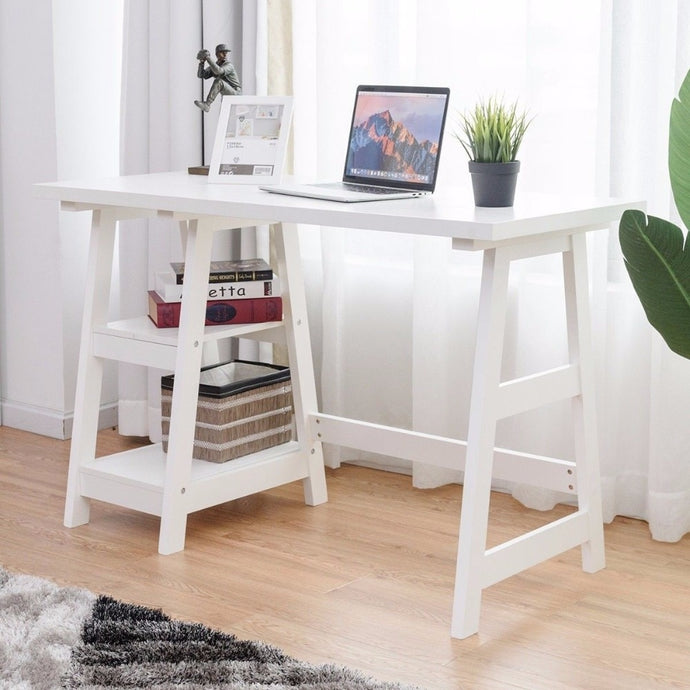 This modern desk has 2 open shelves and is functional and stylish! It offers plenty of space for office essentials or you can add a personal touch with photos and decor!