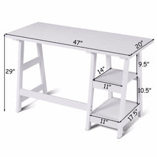 Load image into Gallery viewer, This modern desk has 2 open shelves and is functional and stylish! It offers plenty of space for office essentials or you can add a personal touch with photos and decor!