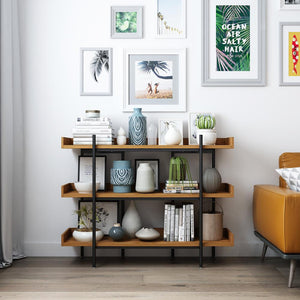 Industrial 3-Shelf Open Display Bookshelf