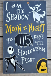 I am the shadow on the moon at night, Nightmare Before Christmas Halloween Countdown, Disney decor