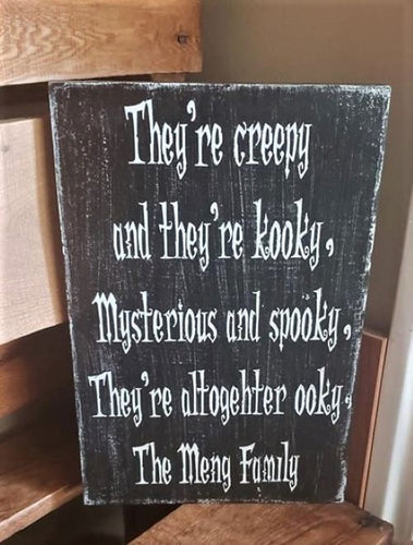 Halloween sign, Addams Family wood sign, Custom family name sign, wood sign
