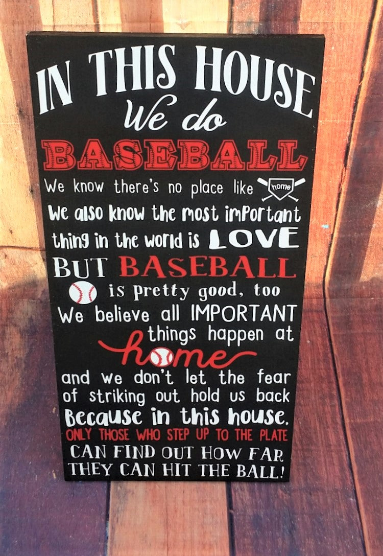 Baseball Decor, Baseball wood sign, We do Baseball, In This House We do Baseball