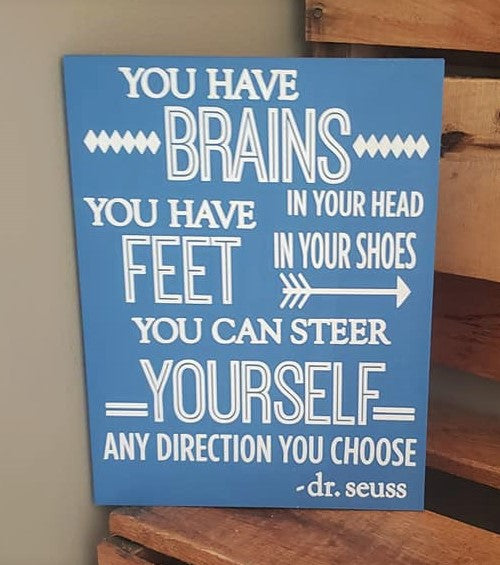You have brains in your head your have feet in your shoes, Dr. Seuss quote, classroom decor, home decor