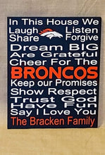 Load image into Gallery viewer, Denver Broncos, Denver Broncos wood sign, In This House, sports sign