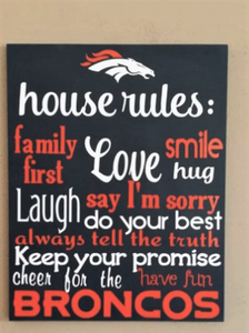 Denver Broncos House Rules, Broncos home decor