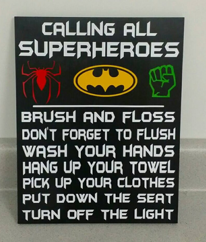 Superheroes bathroom decor, Batman, Spiderman, Hulk, Thor, Iron Man, Black Panther