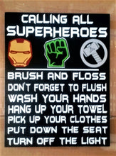 Load image into Gallery viewer, Superheroes bathroom decor, Batman, Spiderman, Hulk, Thor, Iron Man, Black Panther