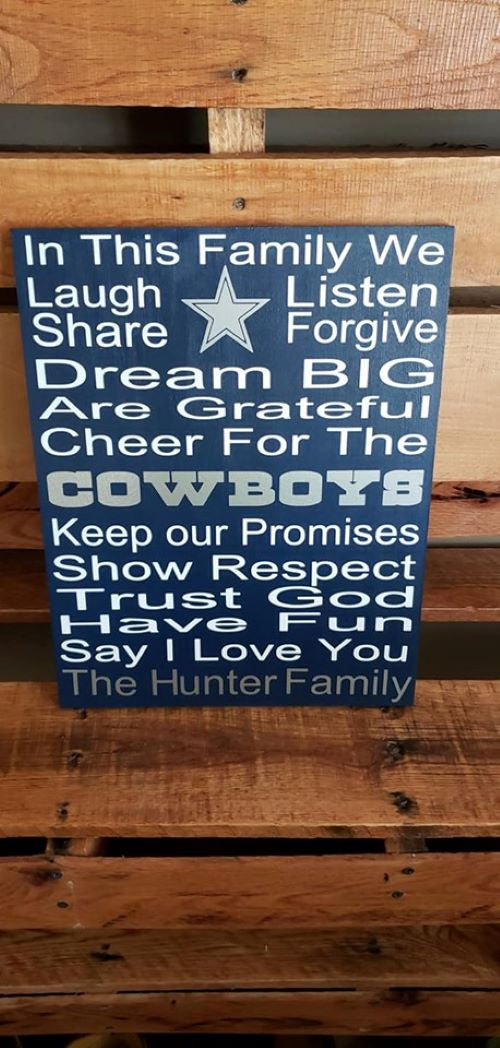 Dallas Cowboys home decor, In this family we cheer for the Cowboys, Dallas Cowboys sports sign,