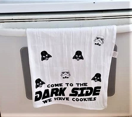 Funny kitchen dish towel, come to the dark side we have cookies, housewarming gift, flour sack towel