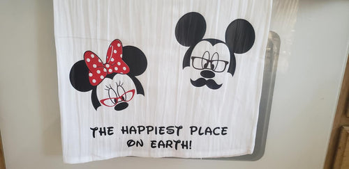 Funny kitchen dish towel, Disney dish towel, happiest place on earth, housewarming gift, flour sack towel