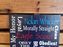 Load image into Gallery viewer, Eagle Scout sign, Boy Scouts, recognition plaque, Custom, one of a kind Eagle Scout Sign