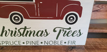 Load image into Gallery viewer, Farm Fresh Christmas tree sign, red truck, Holiday decor, Christmas