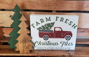 Farm Fresh Christmas tree sign, red truck, Holiday decor, Christmas