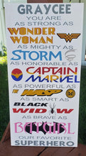 Load image into Gallery viewer, Female Superhero Sign, Wonder Woman, Storm, Captain Marvel, Wasp, Batgirl