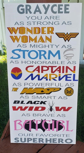Female Superhero Sign, Wonder Woman, Storm, Captain Marvel, Wasp, Batgirl