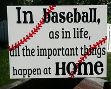 Load image into Gallery viewer, In baseball as in life all the important things happen at home, baseball sign