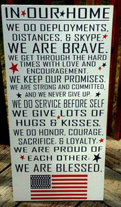 In our Home, military decor, military wood sign, home decor, deployment, military family