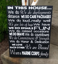Load image into Gallery viewer, In This House We are a Marine Corp Family, customize with any branch of the service