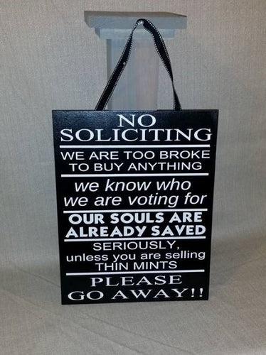No Soliciting, Funny No Soliciting, thin mints, please go away