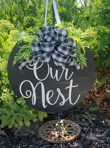 Large Modern Welcome sign for home or front door, Our Nest, Customizable