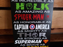 Load image into Gallery viewer, Superhero Sign, Ironman, Hulk, Spiderman, Captain America, Superman, Batman