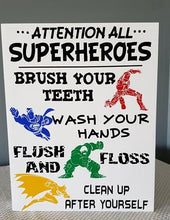 Load image into Gallery viewer, Attention all Superheroes, Superhero Bathroom Decor, Superhero Bathroom sign